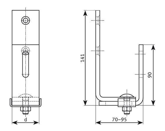 Schindeldachhaken höhenverstellbar - technische Zeichnung