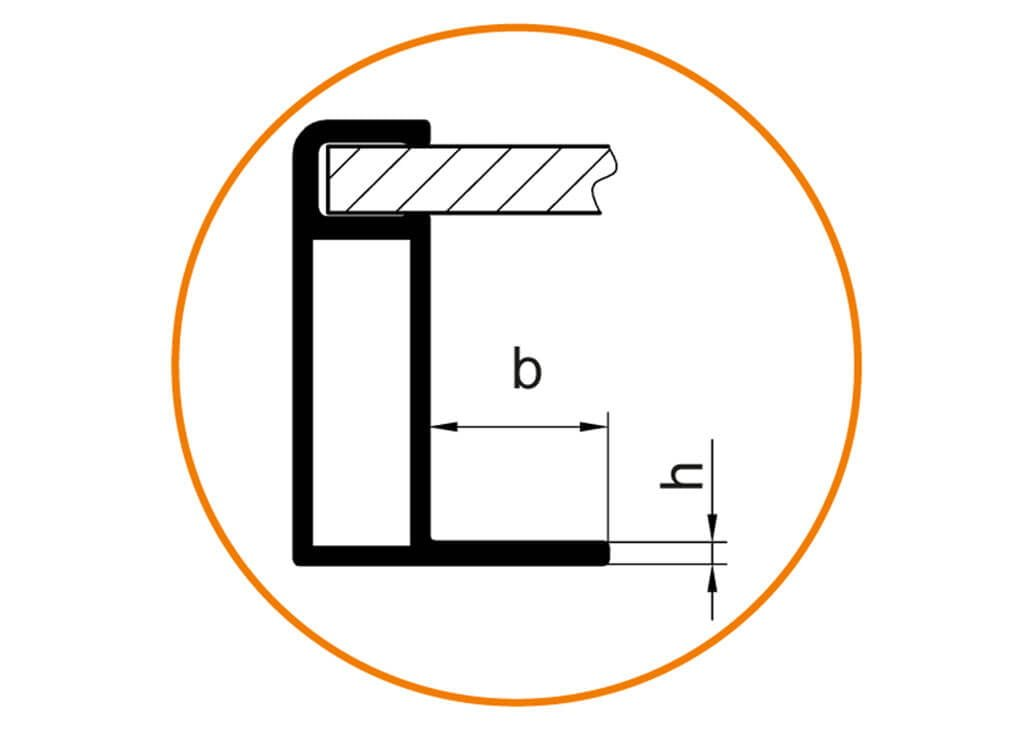 Einspannbereich (b und h)