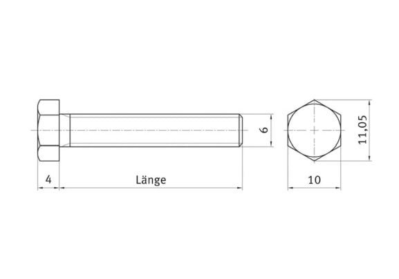 Hexagon bolt for solar mounting systems