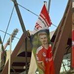 Fahne vor dem Haupteingang des Steigerwald-Stadions